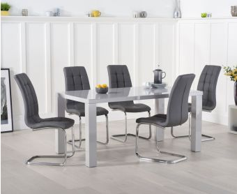 Atlanta 160cm Light Grey High Gloss Dining Table with Lorin Chairs