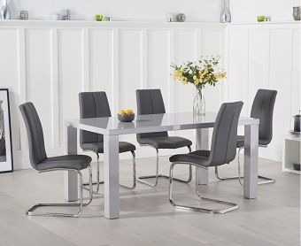 Atlanta 160cm Light Grey High Gloss Extending Dining Table with Tarin Chairs