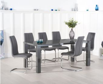 Atlanta 200cm Dark Grey High Gloss Dining Table with Tarin Chairs