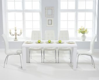 Atlanta 160cm White High Gloss Dining Table with Calgary Chairs