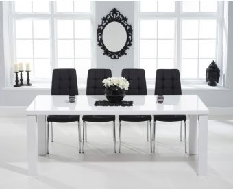 Atlanta 200cm White High Gloss Dining Table with Calgary Chairs