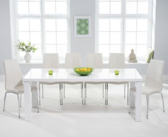 Atlanta 200cm White High Gloss Dining Table with Cavello Chairs