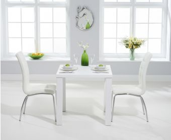 Atlanta 80cm White High Gloss Dining Table with Calgary Chairs