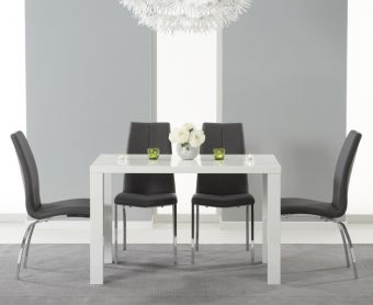 Atlanta 120cm White High Gloss Dining Table with Charcoal Grey Cavello Chairs