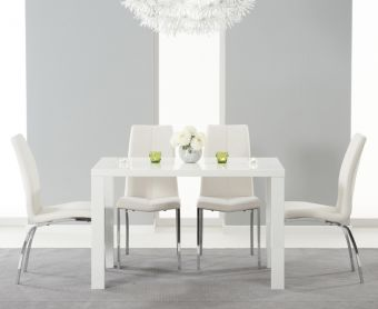 Atlanta 120cm White High Gloss Dining Table with Ivory-White Cavello Chairs