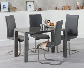 Atlanta 120cm Dark Grey High Gloss Dining Table with Malaga Chairs