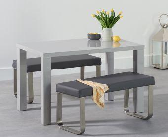 Atlanta 120cm Light Grey High Gloss Dining Table with Atlanta Grey Benches