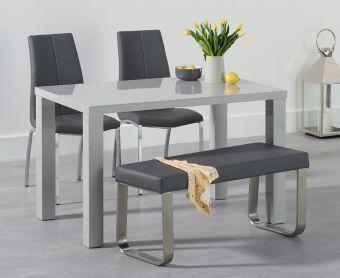 Atlanta 120cm Light Grey High Gloss Dining Table with Cavello Chairs and Atlanta Grey Bench