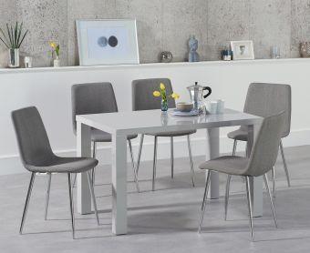 Atlanta 120cm Light Grey High Gloss Dining Table with Hamburg Fabric Chairs