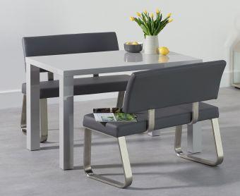 Atlanta 120cm Light Grey High Gloss Dining Table with Malaga Grey Benches