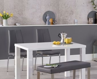 Atlanta 120cm White High Gloss Dining Table with Cavello Chairs and Atlanta Grey Bench