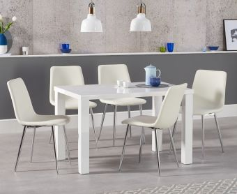 Atlanta 120cm White High Gloss Dining Table with Hamburg Faux Leather Chairs