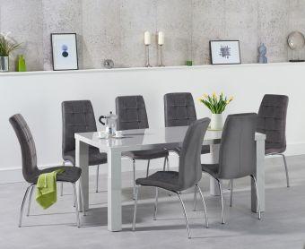 Atlanta 160cm Light Grey High Gloss Dining Table with Calgary Velvet Chairs