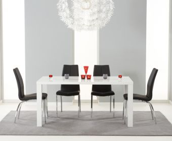 Atlanta 160cm White High Gloss Dining Table with Cavello Chairs