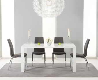 Atlanta 160cm White High Gloss Dining Table with Charcoal Grey Cavello Chairs