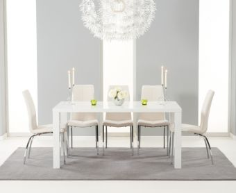 Atlanta 160cm White High Gloss Dining Table with Ivory-White Cavello Chairs