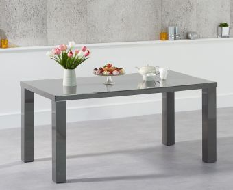 Atlanta 160cm Dark Grey High Gloss Dining Table