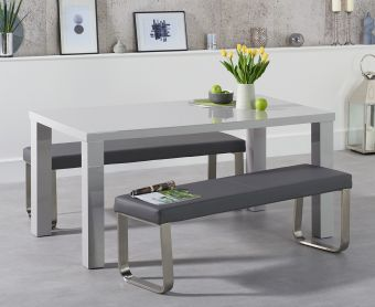 Atlanta 160cm Light Grey High Gloss Dining Table with Atlanta Benches