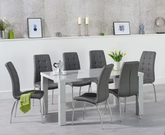 Atlanta 160cm Light Grey High Gloss Dining Table with Calgary Chairs