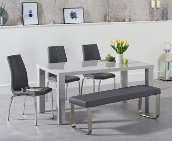 Atlanta 160cm Light Grey High Gloss Dining Table with Cavello Chairs and Atlanta Grey Bench