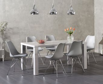 Atlanta 160cm Light Grey High Gloss Dining Table with Calvin Chrome Leg Chairs