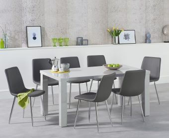 Atlanta 160cm Light Grey High Gloss Dining Table with Hamburg Faux Leather Chrome Chairs