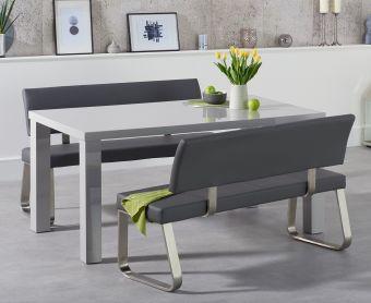 Atlanta 160cm Light Grey High Gloss Dining Table with Malaga Benches
