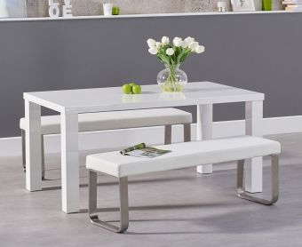 Atlanta 160cm White High Gloss Dining Table with Atlanta Benches