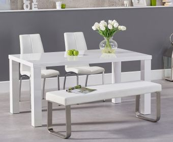 Atlanta 160cm White High Gloss Dining Table with Cavello Chairs and Atlanta White Bench