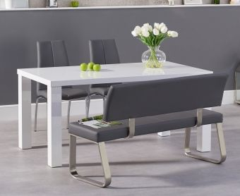 Atlanta 160cm White High Gloss Dining Table with Cavello Chairs and Malaga Grey Bench