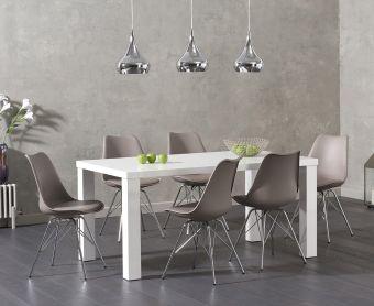 Atlanta 160cm White High Gloss Dining Table with Calvin Chrome Leg Chairs