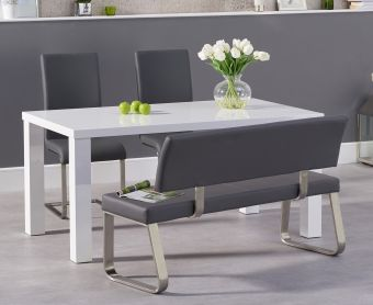 Atlanta 160cm White High Gloss Dining Table with Malaga Chairs and Malaga Grey Bench