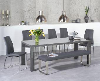 Atlanta  200cm Dark Grey High Gloss Dining Table with Cavello Chairs and Atlanta Grey Bench