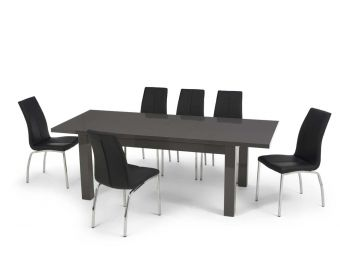 Atlanta 160cm Dark Grey High Gloss Extending Dining Table with Cavello Chairs