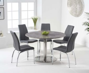 Baha 120cm Round Grey Marble Dining Table with Cavello Chairs