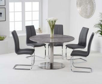 Baha 120cm Round Grey Marble Dining Table with Tarin Chairs