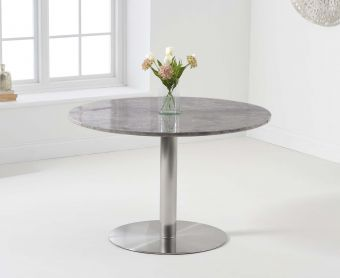 Baha 120cm Round Grey Marble Dining Table