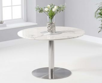 Baha 120cm Round White Marble Dining Table