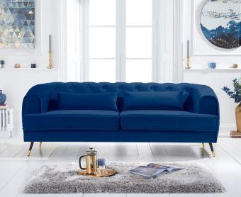 Bartlett 3 Seater Sofa in Blue Velvet