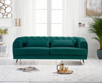 Bartlett 3 Seater Sofa in Green Velvet