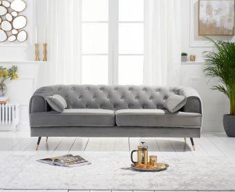 Bartlett 3 Seater Sofa in Grey Velvet