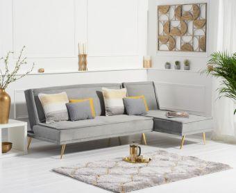 Benson 3 Seater Reversible Chaise Sofa Bed in Grey Velvet