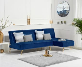 Benson 3 Seater Reversible Chaise Sofa Bed in Blue Velvet