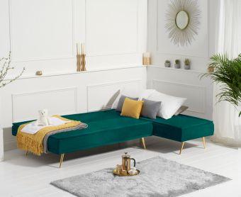 Benson 3 Seater Reversible Chaise Sofa Bed in Green Velvet