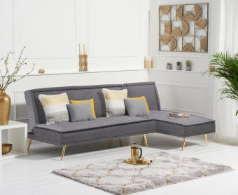 Benson 3 Seater Reversible Chaise Sofa Bed in Grey Linen