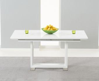 Bianco 160cm White High Gloss Extending Dining Table