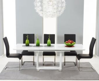 Bianco 160cm White High Gloss Extending Dining Table with Malaga Chairs