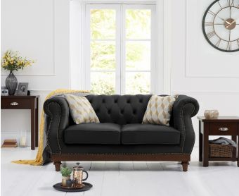 Henbury Chesterfield Black Leather 2 Seater Sofa