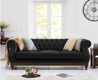 Henbury Chesterfield Black Leather 3 Seater Sofa