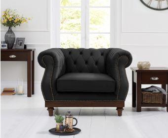 Henbury Chesterfield Black Leather Armchair